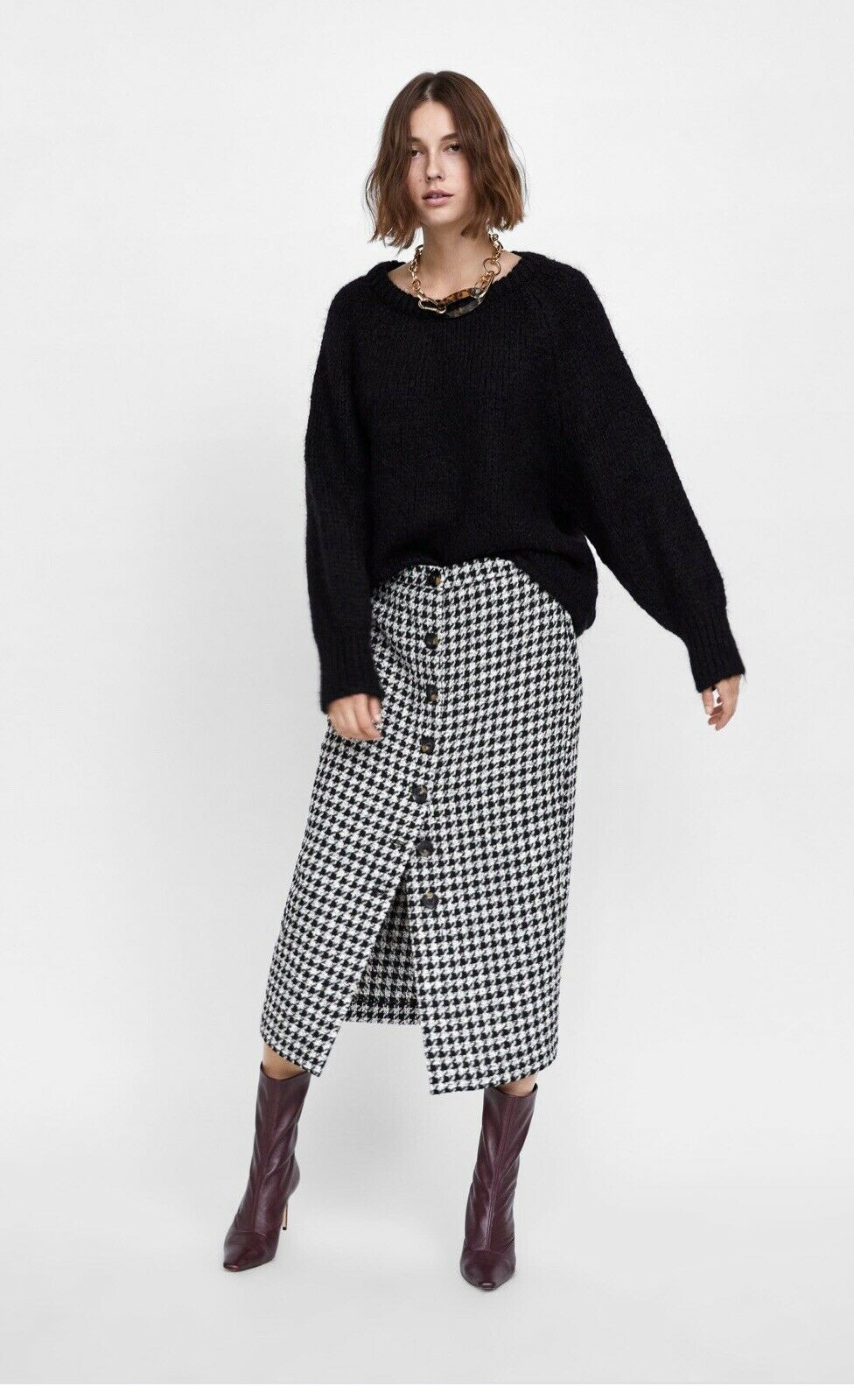 Women's Zara Plaid Tube Skirt Size Xs