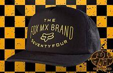 New Fox Racing Thrashed Mens Mesh Trucker Black Snapback Cap Hat