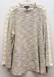 STYLE-amp-CO-Size-2X-Gray-Ivory-White-Marled-Crochet-Knit-Sleeve-Pullover-Sweater