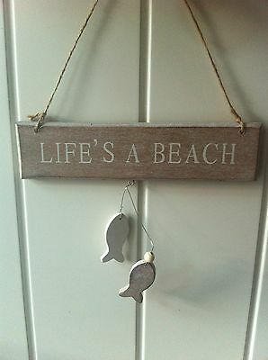 NEW 'LIFE'S A BEACH'' BATHROOM SIGN WALL HANGING WOOD PLAQUE BATHROOM LOO