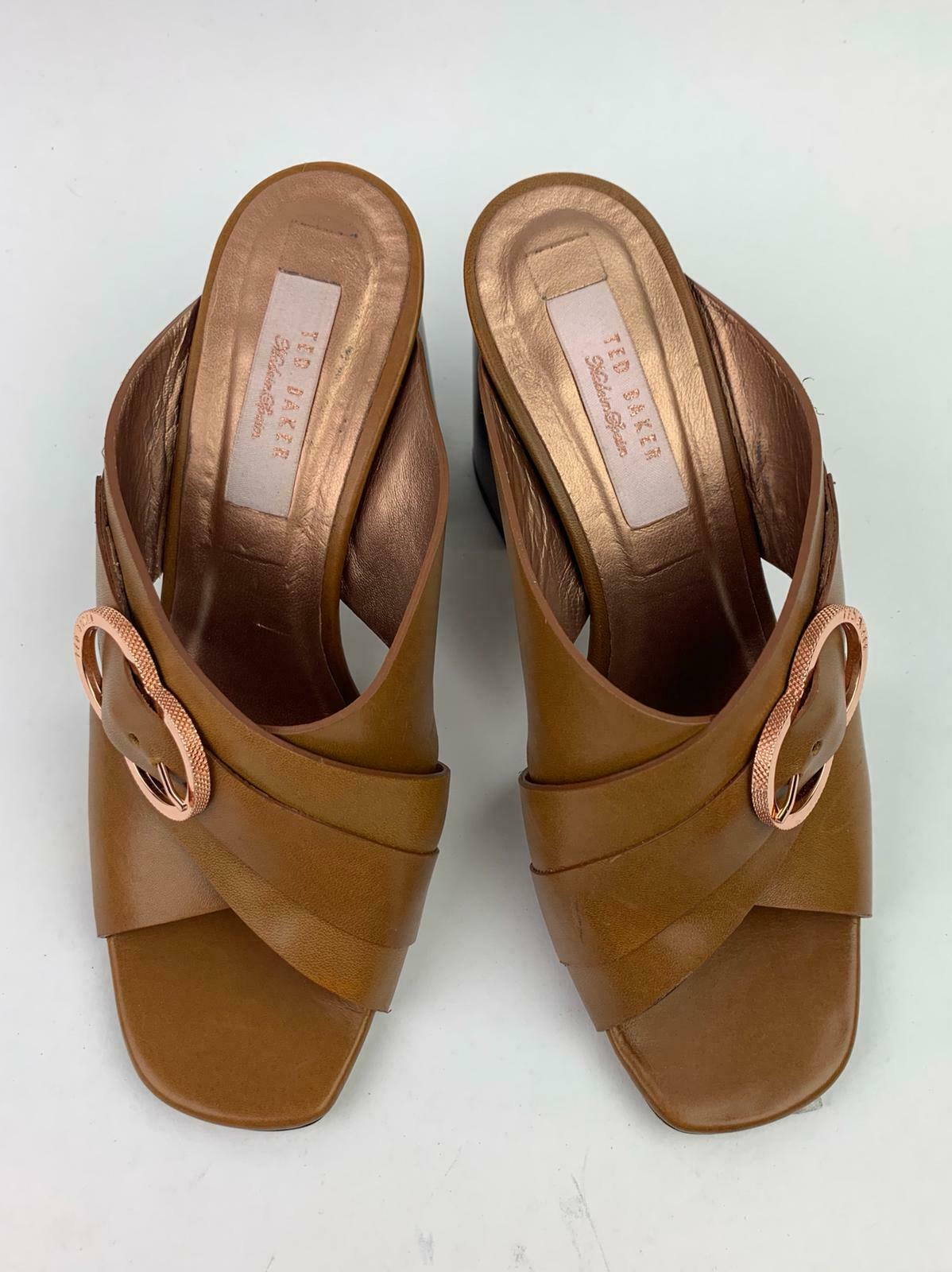 Ted Baker London Maladas Leather Patterned Block Heel Mule Sandal sz 36.5