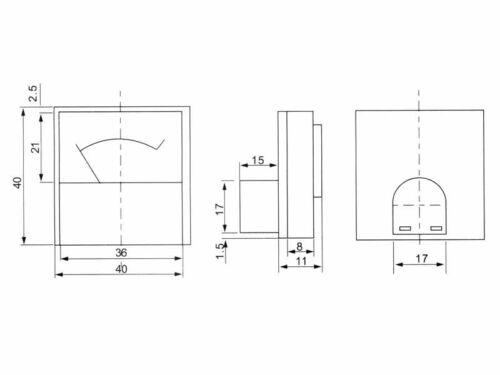 0-10 V DC installazione Misuratore analogico Voltmeter-MINI 40 x 40 x 25