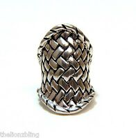 Chunky Gothic Hip Hop Antique Silver Braided Metal Design Stretch Bling Ring