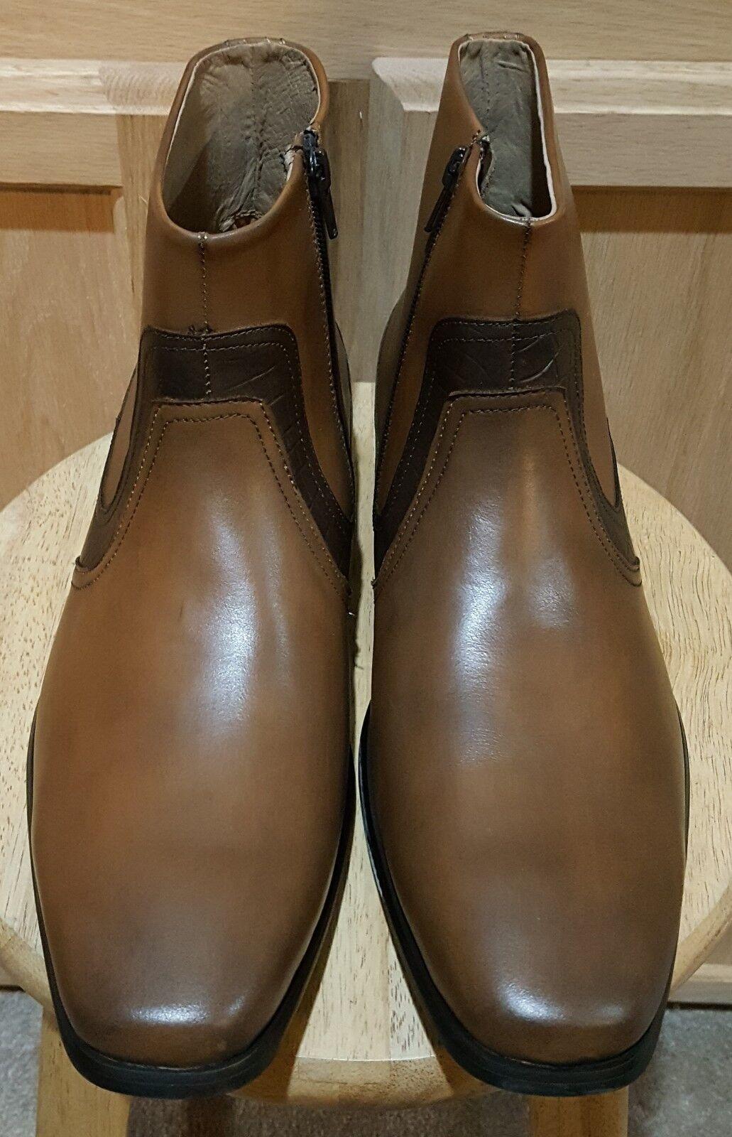 Cam Newton MADE Garner Tan Leather w w w Python Print Dress Stiefel - MSRP  160 1bcd34