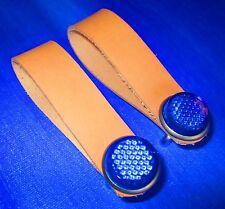 Set / Pair Bike /Bicycle Hub Shiner Natural 100% Leather Blue Reflector USA Made