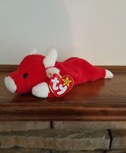 ef50a9f09dc La foto se está cargando Snort-Red-Bull-Ty-Beanie-Baby-Raro