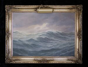 Diplomatic Sailing Boats Large Oil Painting Canvas Ocean Original Sea Waves Seascape Blue Art