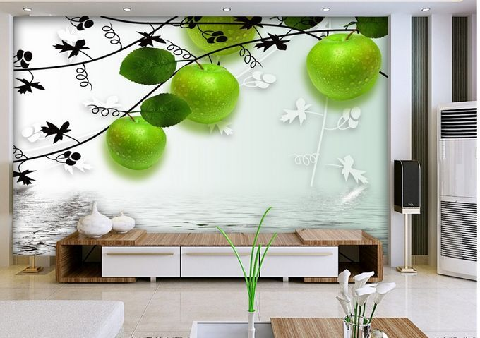 3D green Mela 3 Parete Murale Carta da parati immagine sfondo muro stampa