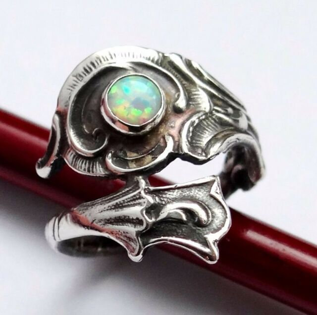 Opal Ring In Sterling Silver, Silver Spoon Ring, Cute Ring, Silver Opal Ring