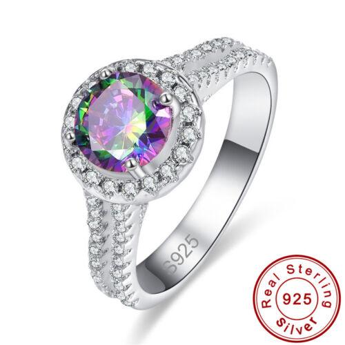 Dazzling Round Rainbow /& White Topaz 925 Gemstone Sterling Silver Size 6 7 8 9