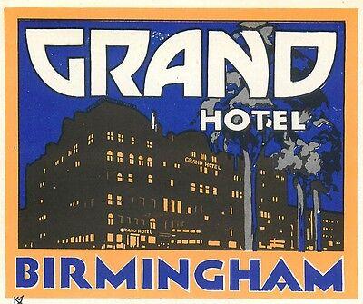 BIRMINGHAM ENGLAND UK GRAND HOTEL VINTAGE ART DECO LUGGAGE LABEL