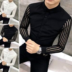 Men-039-s-Long-Sleeve-Sheer-Mesh-T-Shirt-Top-Party-Clubwear-Collar-Shirt-Blouse-Tops