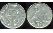 WW2  BELGIUM  BELGIQUE  1 franc 1939  (  belgique - belgie  ) ( etat )
