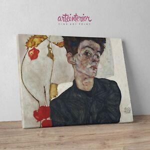 Egon Schiele, Autoritratto con phisalis - Stampa Fine Art HR su tela Canvas Arte - Italia - Egon Schiele, Autoritratto con phisalis - Stampa Fine Art HR su tela Canvas Arte - Italia