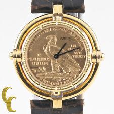 Corum 18k Yellow Gold $5 Half Eagle Quartz Coin Watch w/ Rotating Bezel