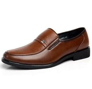 men's work business oxford leather shoes slip on dress