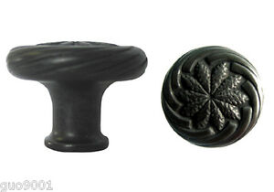 Matte Black Round Wheat Design Kitchen Cabinet Knob Knobs