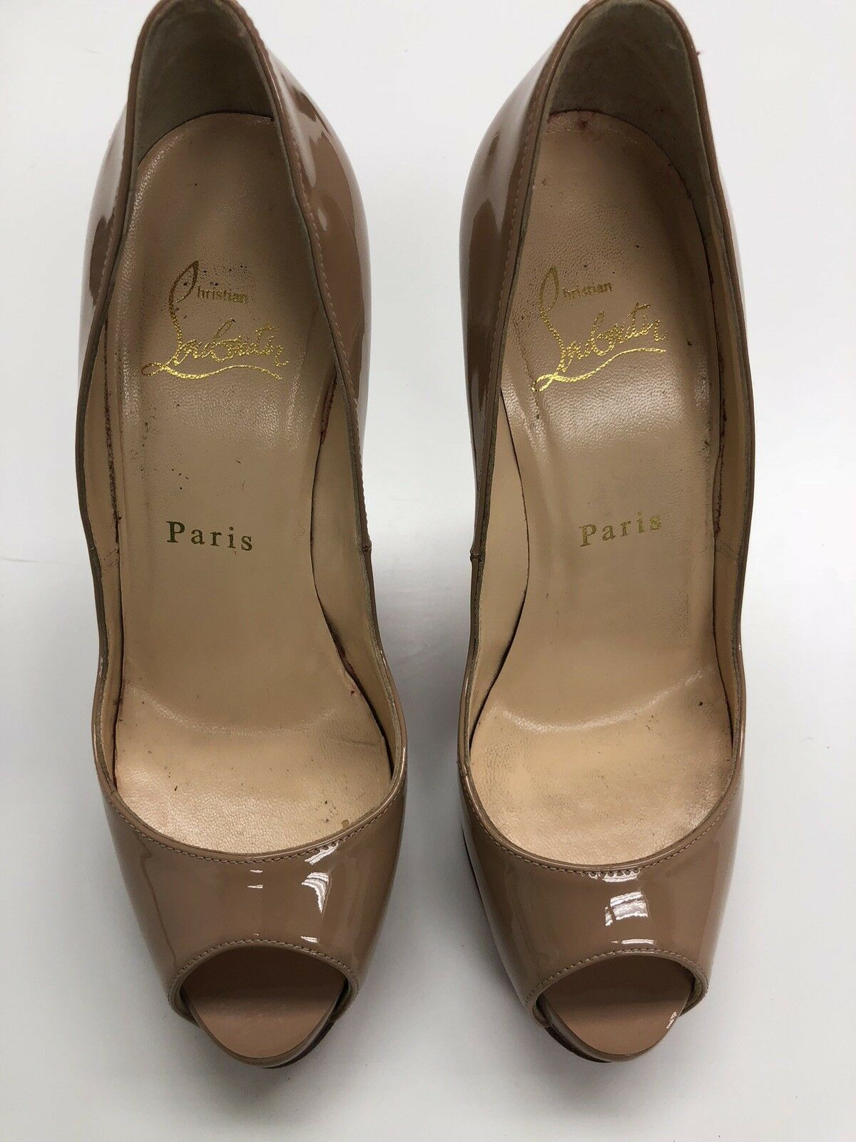 100% AUTH Christian Louboutin Prive Patent Leather Open Toe Pump Size 35.5  945