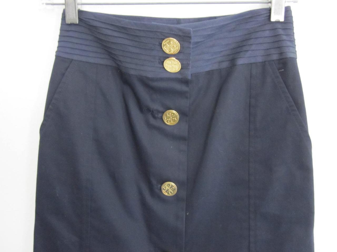 Tory Burch Navy with gold Logo Buttons Cotton Skirt Sz 2 NWOT 26  Waist