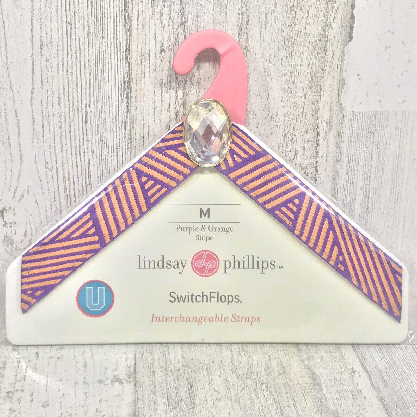 Lindsay Phillips SwitchFlops Interchangeable Straps Purple & Orange Strips - Med