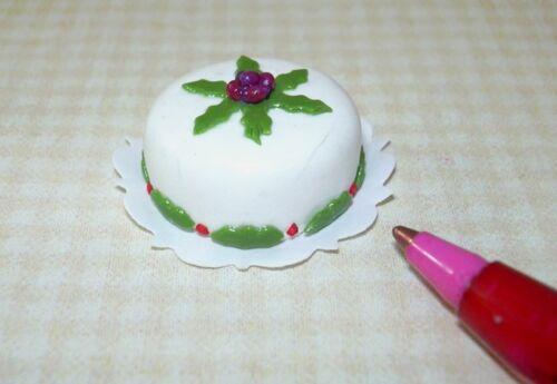 "1:12 Scale Miniatures Miniature /""Floral Theme/"" Christmas Cake #1 for DOLLHOUSE"