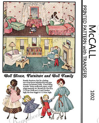 1948 McCall 1002 - pipe cleaner family and cardboard house and furniture!!