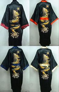 6c9ef34ee9 Chinese Double-Face Men Silk Satin Men s Dragon Kimono Robe Gown ...