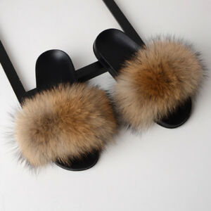 0aea92af28076 Large Fluffy Real Fox/Raccoon Fur Women's Slippers Shoes Flat Slides ...