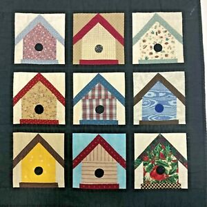 Birdhouses-Handmade-Quilted-Wall-Hanging-Finished-With-Rod-Pocket-23-X-24-OOAK