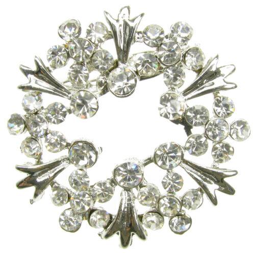 Costume Jewellery Fashion SILVER BROOCH DIAMANTE RHINESTONE FLOWER ...