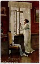 SCHNEIDER Lady at Window Donnina alla Finestra PC Circa 1910