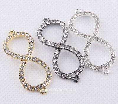 3pcs Paved Silver/Gold/Black Metal Clear Crystal Rhinestones Connectors Charms