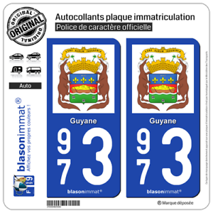 2 Stickers autocollant plaque d'immatriculation | 973 Guyane - Armoiries II 1pQQnlgN-07133859-265811161