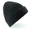 Unisex GREY GREEN or BLACK Chunky Ribbed Beanie Soft Acrylic Knitted Ski Hat