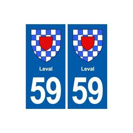 59 Leval blason autocollant plaque stickers ville arrondis