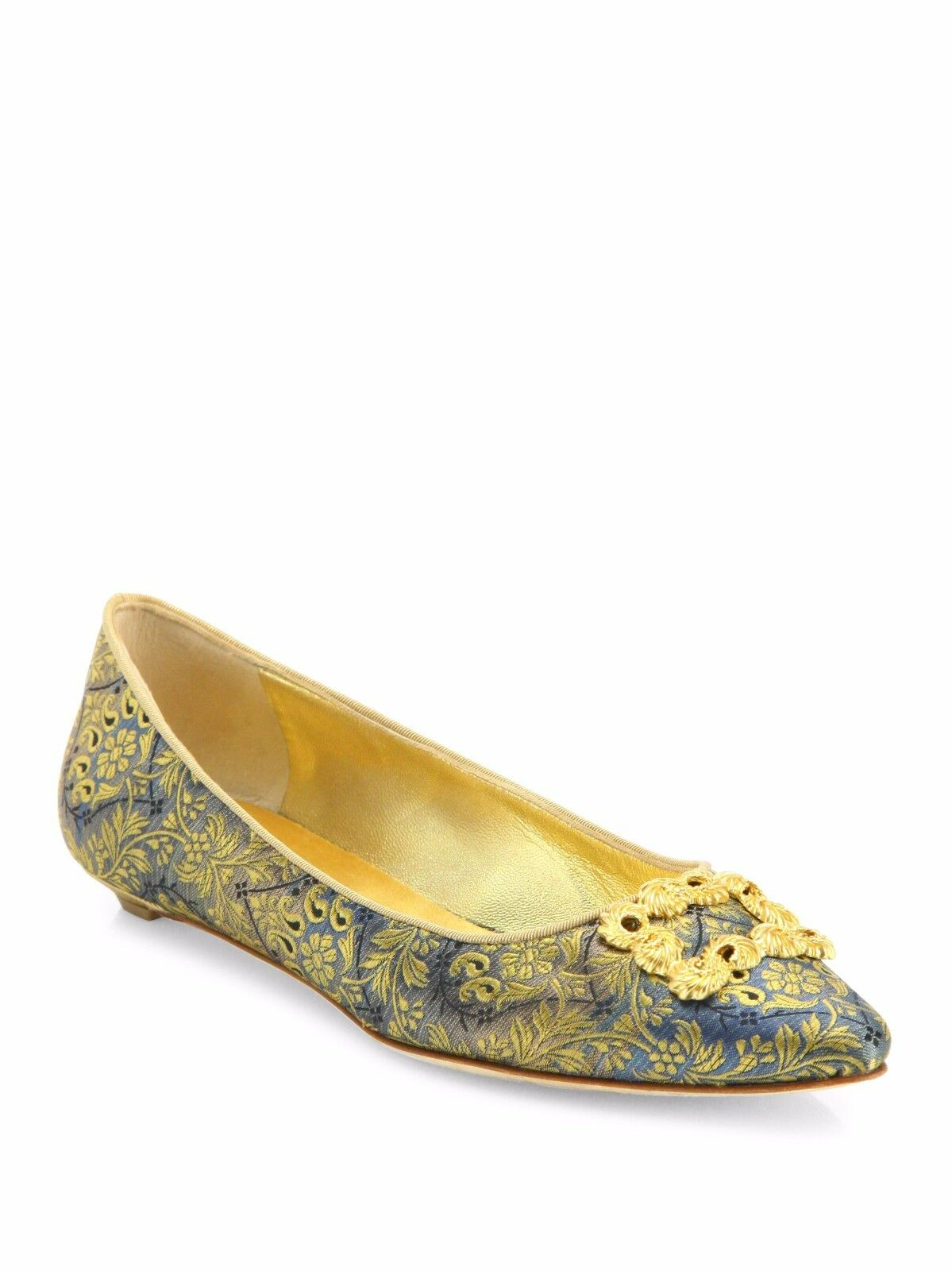 $765 NEW Embroidered MANOLO BLAHNIK Green Brocade  Remota Embroidered NEW Flats Shoes 40.5 41.5 4f5c5f