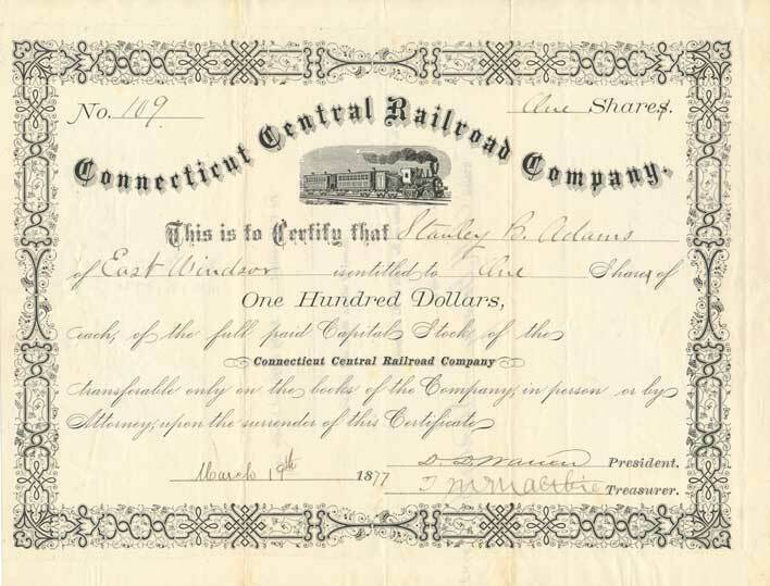 1877 Connecticut Central RR Co. Stock Certificate
