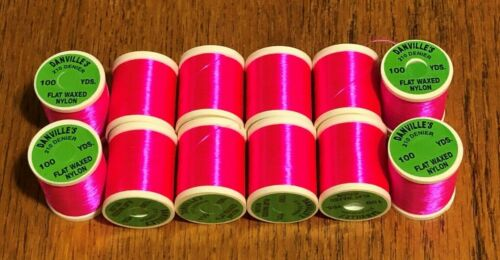12 Spools Danville Flat Waxed Fluorescent Red Fly Tying Thread