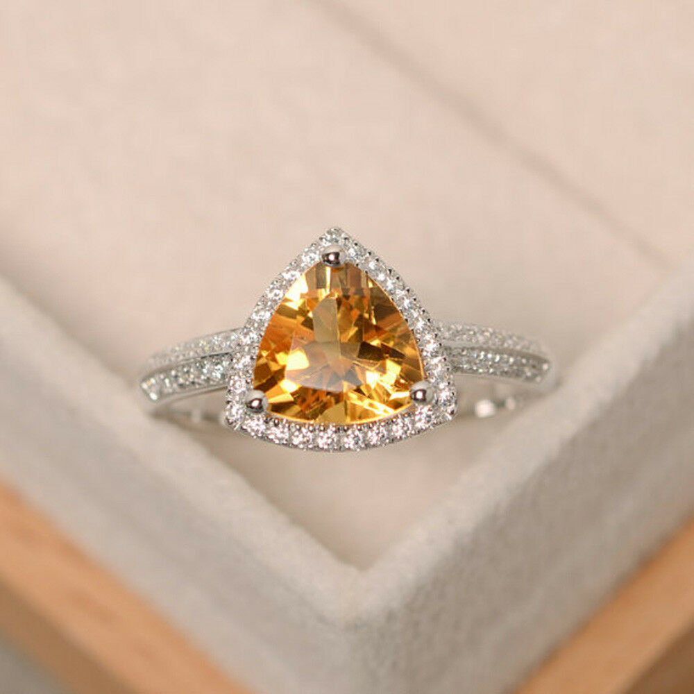 2.05 CT Citrine Gemstone Diamond Rings Solid 14kt White gold Ring Size 6 7.1 2 5