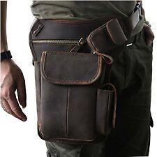 Leaokuu Mens Genuine Leather Messenger Hiking Waist Hip Bum Pack Drop Leg Bag