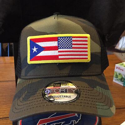 New Era NE205 Camo Mesh Snapback Trucker Hat//Cap w// Subdued Puerto Rico Flag
