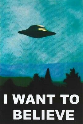 BLUE UFO POSTER: SCIENCE FICTION:  I BELIEVE FREE SHIP  #PO7019 RW1 F