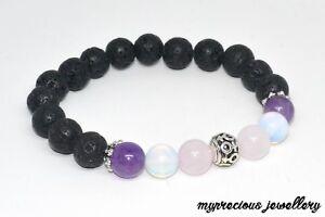 Natural Gemstone Fertility Bracelet Pink Quartz Lava Stone Moonstone Amethyst UK
