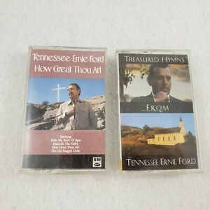 2-Tennessee-Ernie-Ford-Cassette-Tapes-Treasured-Hymns-How-Great-Thou-Art-Gospel
