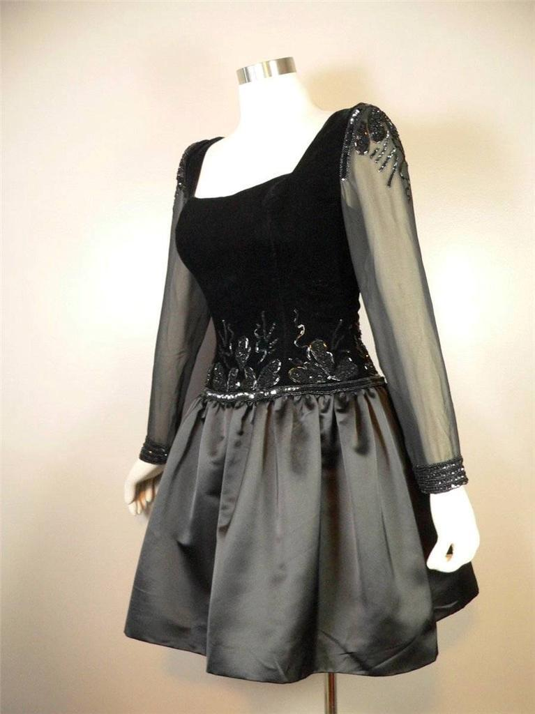 Vintage 1980s Fabrice Party Dress XS Beaded Sheer Mini Neiman Marcus Satin 32 34