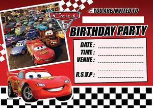 Image Is Loading CARS 3 LIGHTENING MCQUEEN CHILDRENS BIRTHDAY PARTY INVITATIONS