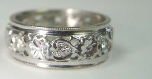 Antique-Art-Deco-Diamond-Wedding-Eternity-Band-14K-White-Gold-Rg-Sz-4-25-UK-H1-2