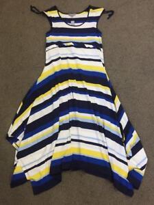 NWT-70-SUZANNE-GRAE-nautical-stripe-MAXI-DRESS-16-blue-white-resort-stretch-NEW