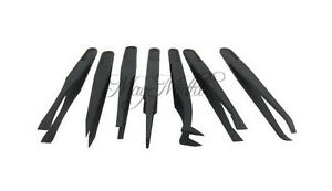 New 7Pcs Anti-static Tool Plastic Tweezer Heat Resistant Straight Bend