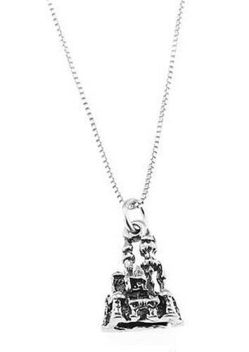 SAND CASTLE CHARM WITH BOX CHAIN NECKLACE STERLING SILVER ENCHANTING CASTLE